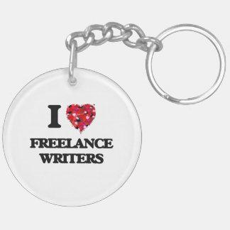 I love Freelance Writers Double-Sided Round Acrylic Keychain