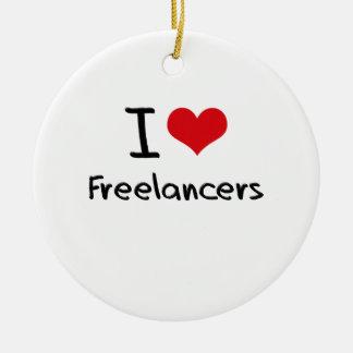 I Love Freelancers Christmas Tree Ornament