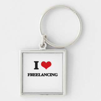 i LOVE fREELANCING Silver-Colored Square Keychain
