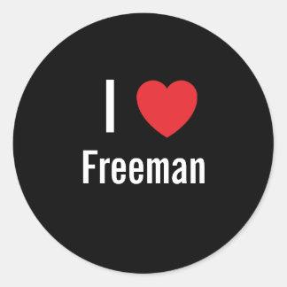 I love Freeman Round Stickers