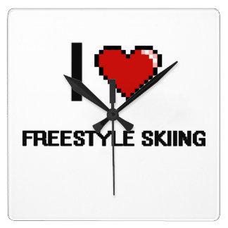 I Love Freestyle Skiing Digital Retro Design Square Wall Clock