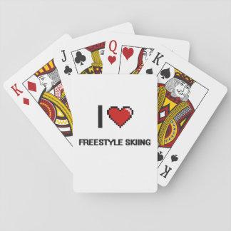 I Love Freestyle Skiing Digital Retro Design Deck Of Cards