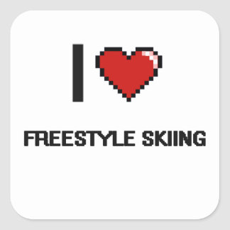 I Love Freestyle Skiing Digital Retro Design Square Sticker