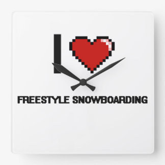 I Love Freestyle Snowboarding Digital Retro Design Square Wall Clock