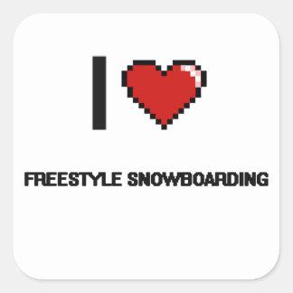 I Love Freestyle Snowboarding Digital Retro Design Square Sticker