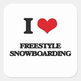 I Love Freestyle Snowboarding Square Sticker