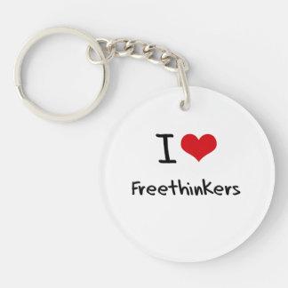 I Love Freethinkers Double-Sided Round Acrylic Keychain