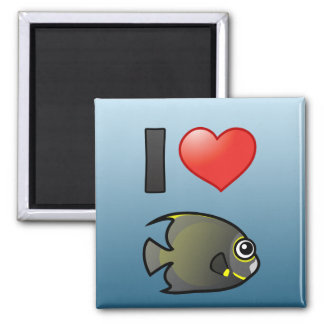 I Love French Angelfish 2 Inch Square Magnet