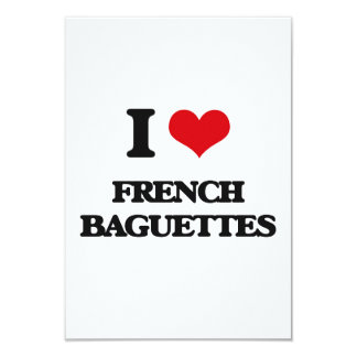 I Love French Baguettes 3.5x5 Paper Invitation Card