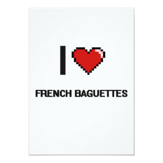 I Love French Baguettes 5x7 Paper Invitation Card