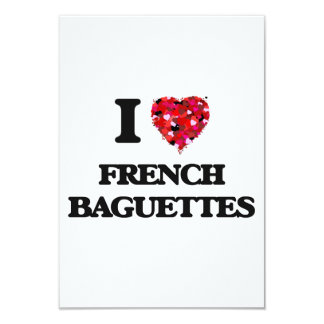 I Love French Baguettes food design 3.5x5 Paper Invitation Card