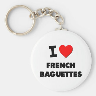 I Love French Baguettes Food Keychains