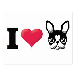 I Love French Bulldog/Boston Terrier2 Postcard