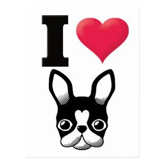 I Love French Bulldog/Boston Terrier Postcard