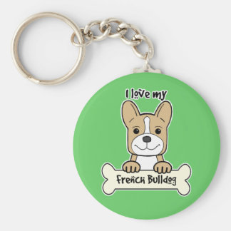 I Love French Bulldog Keychain