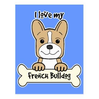 I Love French Bulldog Postcard