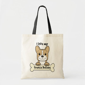 I Love French Bulldog Tote Bag