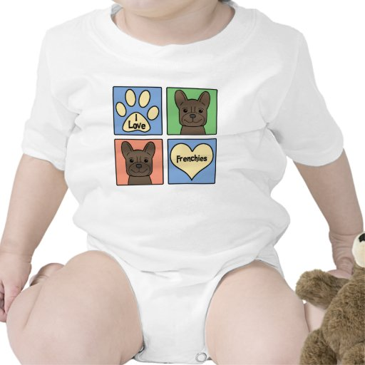I Love French Bulldogs Baby Bodysuits