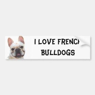 I Love French Bulldogs bumper sticker Car Bumper Sticker