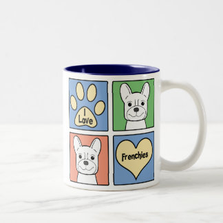 I Love French Bulldogs Two-Tone Coffee Mug