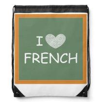 I Love French Drawstring Bag