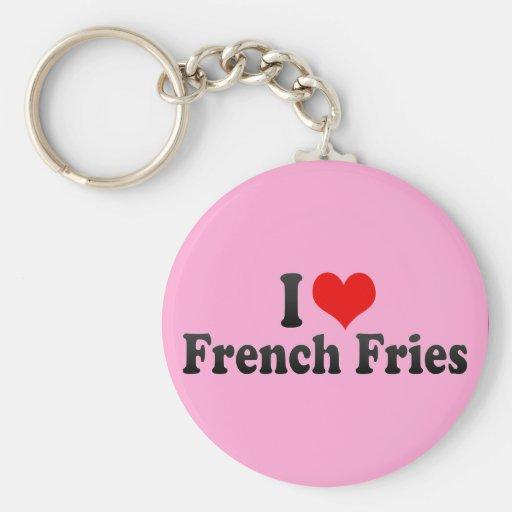 I Love French Fries Basic Round Button Keychain