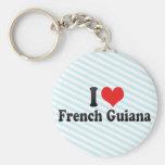 I Love French Guiana Keychain
