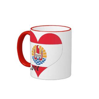 I Love French Polynesia Ringer Mug