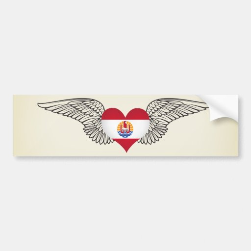 I Love French Polynesia -wings Bumper Stickers