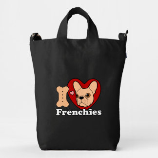 I Love Frenchies design for all Frenchie Lovers Duck Bag