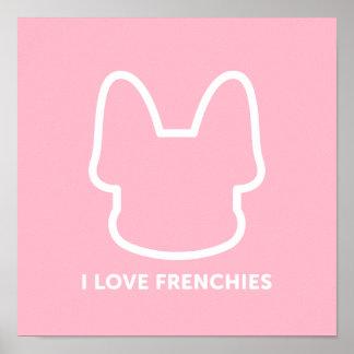 I Love Frenchies Logo Design Poster