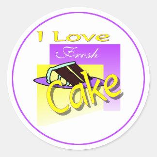 I Love Fresh Cake Classic Round Sticker