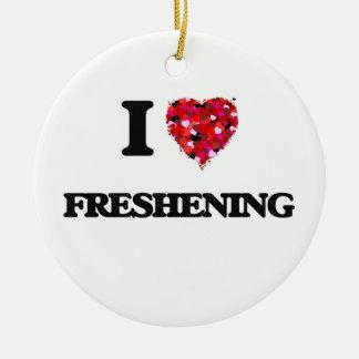 I Love Freshening Double-Sided Ceramic Round Christmas Ornament