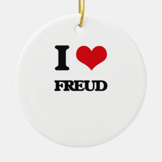 I love Freud Double-Sided Ceramic Round Christmas Ornament