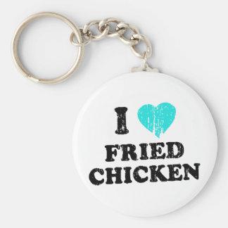 I Love Fried Chicken Basic Round Button Keychain