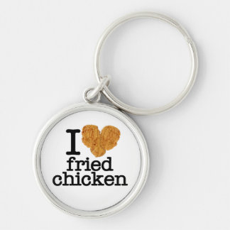 I Love Fried Chicken Silver-Colored Round Keychain