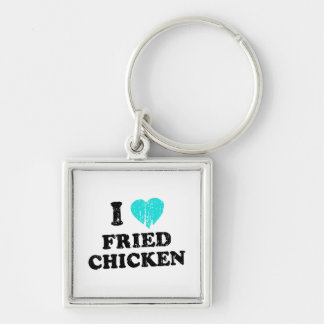 I Love Fried Chicken Silver-Colored Square Keychain