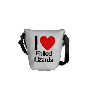 i love frilled lizards messenger bags