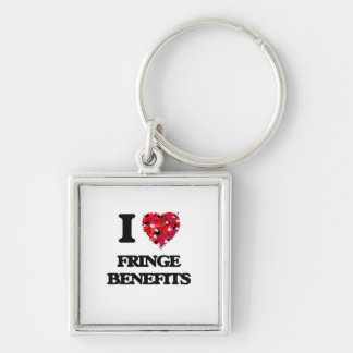 I Love Fringe Benefits Silver-Colored Square Keychain