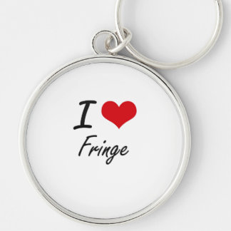I love Fringe Silver-Colored Round Keychain