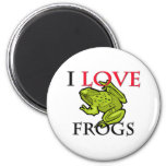 I Love Frogs 2 Inch Round Magnet