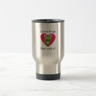 I love frogs deal with it travel mug