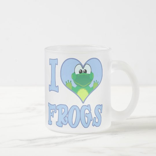 I Love frogs Frosted Glass Coffee Mug