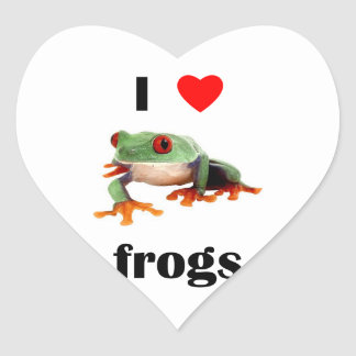 I Love  Frogs Heart Sticker