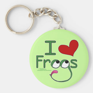 I love FROGS Basic Round Button Keychain