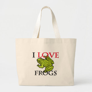 I Love Frogs Large Tote Bag
