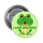 I LOVE FROGS PINBACK BUTTONS