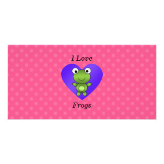 I love frogs pink polka dots customized photo card