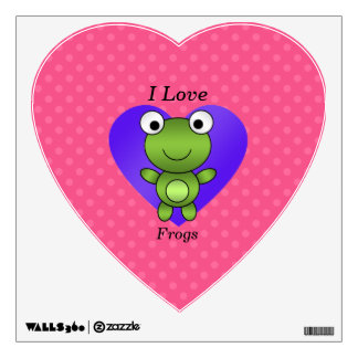 I love frogs pink polka dots wall decal