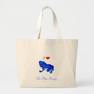 I Love Frogs, The Blue Froggy Tote Canvas Bags